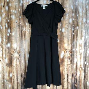 DVF Short Sleeve Black Wrap Cocktail Dress Size 10